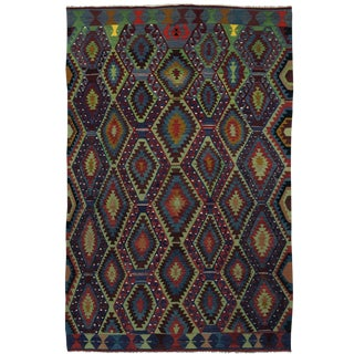 Denim and Spring Green Vintage Turkish Kilim | 6'8 X 10'6 For Sale