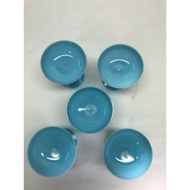 An Antique Blue Opaline Set of Five Portieux Vallerysthal Champagne Glasses/Goblets circa 19th Century. Condition:...