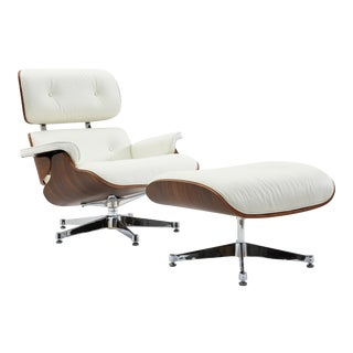 Pasargad Home Florence Leather Lounge Chair With Ottoman For Sale