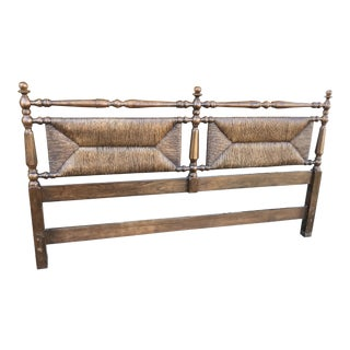 1930s Traditional Rush King Headboard For Sale