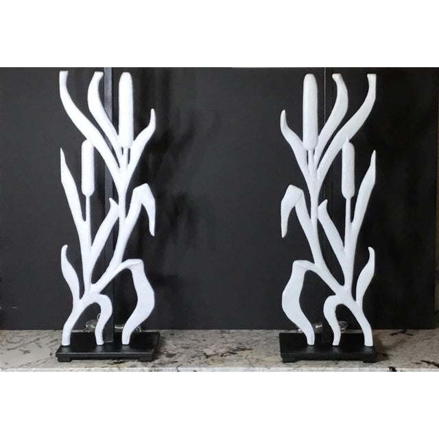 Abstract Cattail Iron Table Lamps - a Pair For Sale - Image 4 of 12