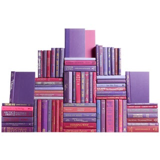 Modern Berry Book Wall : Set of Seventy Five Decorative Books in Shades of Purple