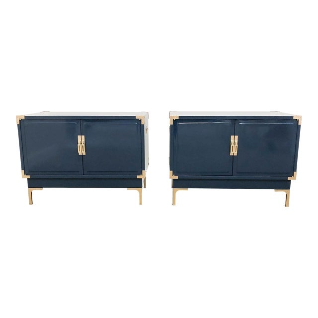 Campaign Navy High Gloss Lacquered Nightstands -Set of 2 For Sale