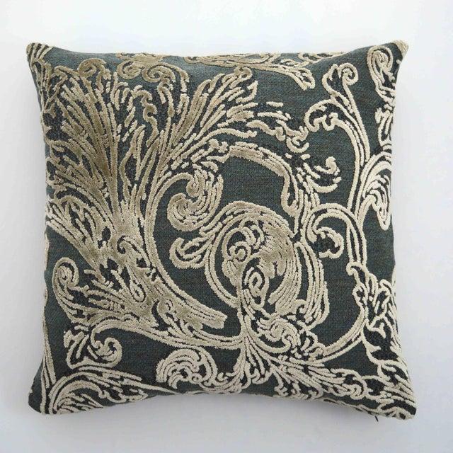 2010s FirmaMenta Italian Damask Velvet Forest Green and Gray Leaf Pillow For Sale - Image 5 of 5