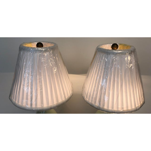 2010s Arts and Craft Ceramic Matt Green Table Lamps With Box Pleated Shades - a Pair For Sale - Image 5 of 8