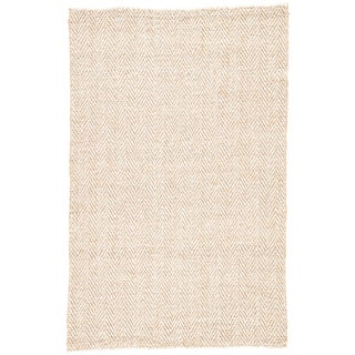 Jaipur Living Haxel Handmade Chevron Beige/ White Area Rug - 5' X 8' For Sale