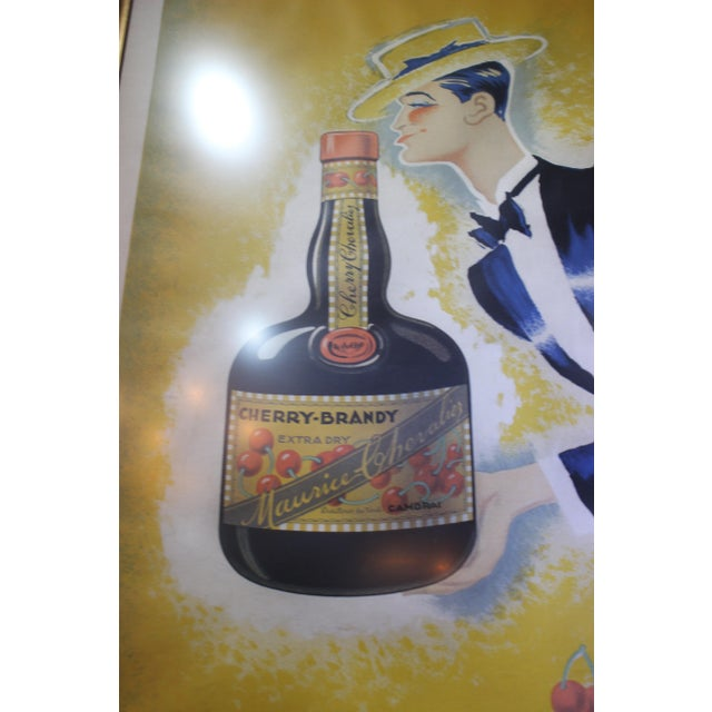 "French Cherry Brandy Maurice Chevalier 70"" Lithographic Poster by Roger De Valerio 1935 For Sale - Image 3 of 12"