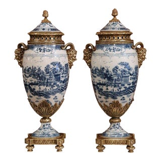 Pair of 19th Century French Napoleon III Bronze and Porcelain Cassolettes Vases