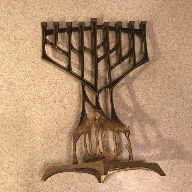 Mid-Century Brutalist Oppenheim Menorah Candle Holder For Sale - Image 5 of 11