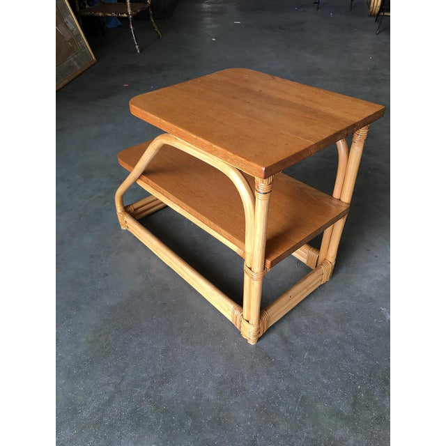 1950s Restored Rattan Side Tables With Two-Tier Mahogany Tops - a Pair For Sale - Image 5 of 10