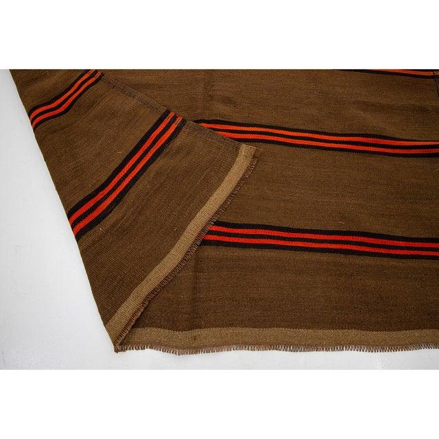 1960s 1960s Vintage Orange & Brown Striped Wool Kilim Rug- 5′10″ × 9′8″ For Sale - Image 5 of 7