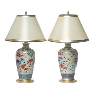 20th C. Chinese Porcelain Vases Converted to Lamps - a Pair For Sale