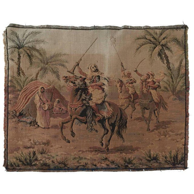 Textile Orientalist Arabs on Horse Hunting Scene Tapestry For Sale - Image 7 of 7