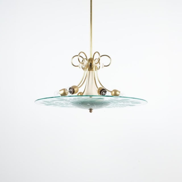 "Large chandelier Luigi Brusotti glass brass Italy, circa 1940. Beautifully preserved large disk chandelier with a 27.5""..."