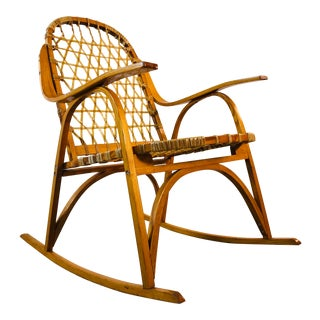 Snowshoe Maple Rocking Chair W/ Rawhide by Vermont Tubbs For Sale