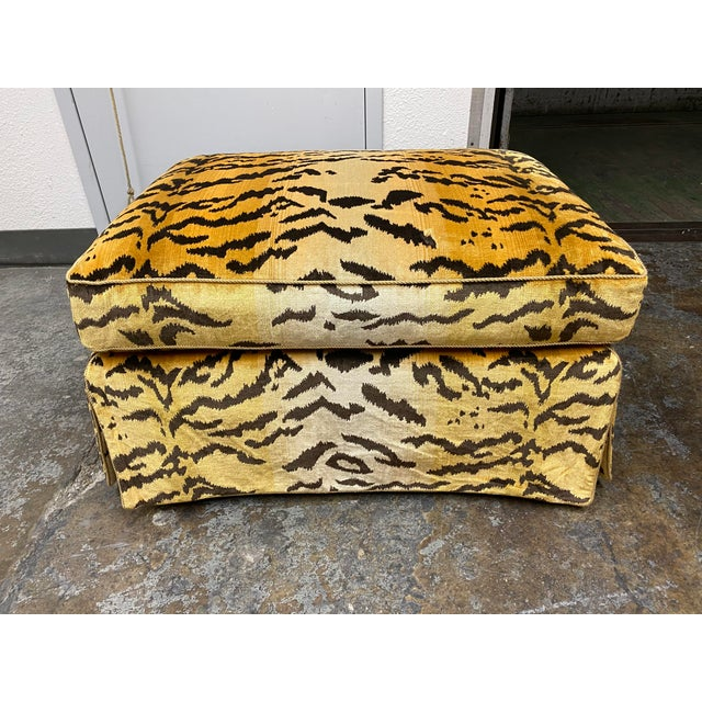 Design Plus Gallery presents a Custom Design Lee Jofa Tiger Oro Silk Ottoman Ottoman. Fabric is mostly silk content with a...
