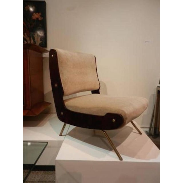 Brass Gianfranco Frattini Pair of Slipper Chairs For Sale - Image 7 of 10