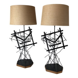Custom Mid-Century Iron Architectural Brutalist Lamps - A Pair For Sale