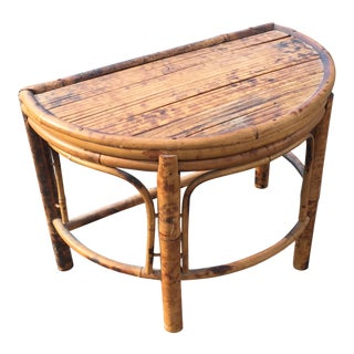 Tortoise Bamboo Demi Line Footstool Shelf