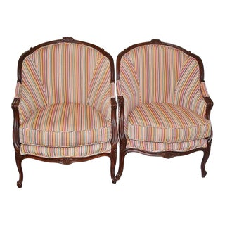 Large French Bergere Chairs, a Pair