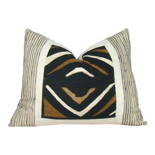 African Mudcloth Geometric Raw Silk Pillow Cover For Sale