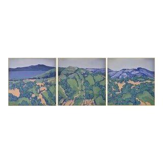 Maui Panorama' Triptych Landscape in Oil by American Expressionist, George Brinner For Sale