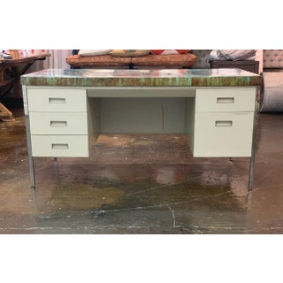 Vintage Industrial Allsteel Executive Tanker Desk With Custom Stained Concrete Top in Cool Tones Preview