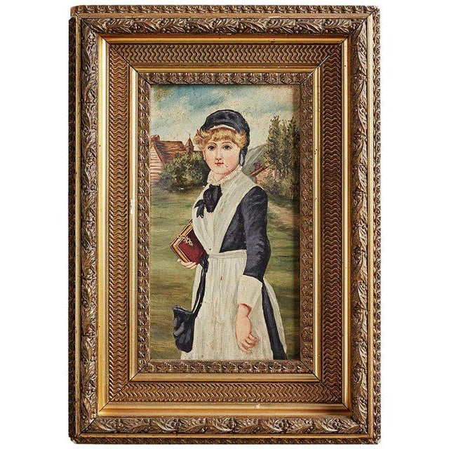 19th Century Folk Art Painting of a Young Girl For Sale - Image 13 of 13
