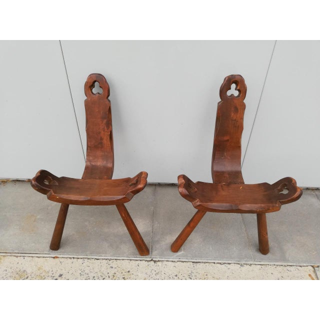 Arts & Crafts 1950s Vintage Tripod Antique Brutalist Chairs- a Pair For Sale - Image 3 of 9