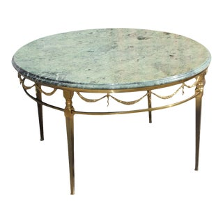 1940s French Art Deco Maison Jansen Round Marble Top Bronze Coffee Table For Sale