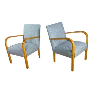 1960s Mid-Century Lacquered Birch and Wool Armchairs - a Pair For Sale