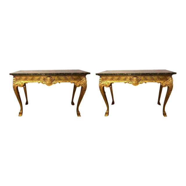 George II Style Carved Giltwood Marble Top Console Tables - A Pair For Sale