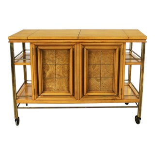 Mid Century Modern Rolling Flip Top Bar Cart Attributed to J. L. Metz Contempora Line For Sale