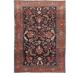 Antique Navy Blue Serapi Persian Handmade Wool Rug For Sale