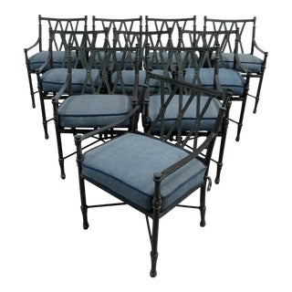"Vintage Woodard ""Landgrave"" Coll Cast Aluminum Outdoor Dining Arms Chairs - Set of 10 For Sale"