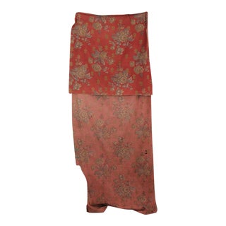 Curtain Red Ground W/ Gray Floral Pattern Antique French Drape Cotton Napoleon 3 For Sale