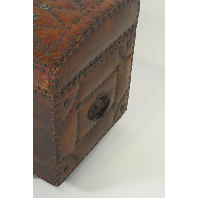 1950s Leather Studded Dome Top Trunk For Sale - Image 4 of 13