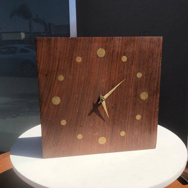 1960s Mid-Century Modern Wall Rosewood and Brass Clock For Sale - Image 5 of 5
