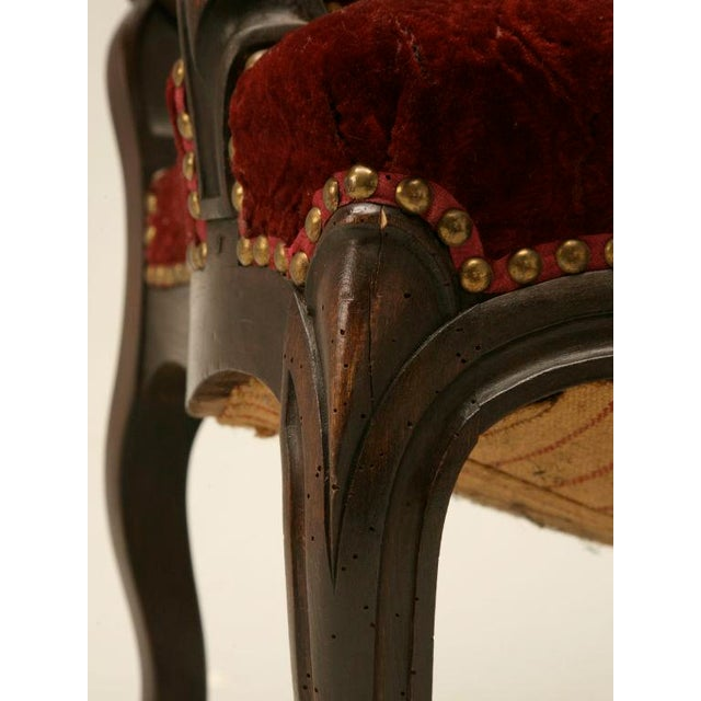 Mid 19th Century Exquisite Heavily Carved Antique French Louis XV Walnut Fauteuils - a Pair For Sale - Image 5 of 10