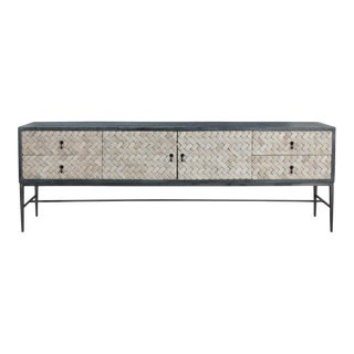 Long Narrow Braided Media Cabinet For Sale