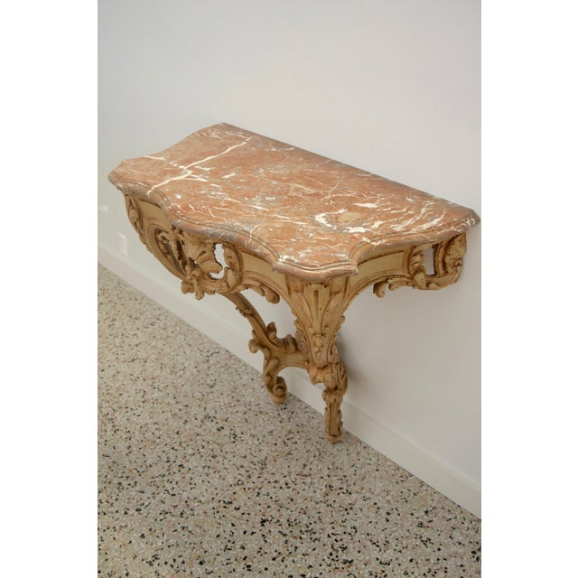 Late 18th Century Late 18th Century Louis XV Style Console Hand Carved Wood Marble Top- 2 Avail For Sale - Image 5 of 7
