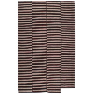 Banded Kilim in Brown and Red For Sale