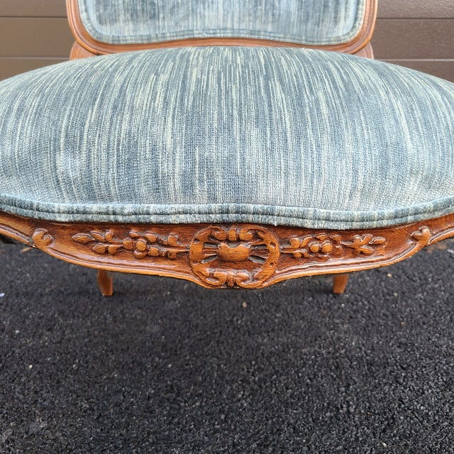 Vintage French Provincial Carved Walnut Occasional Chair For Sale - Image 9 of 13