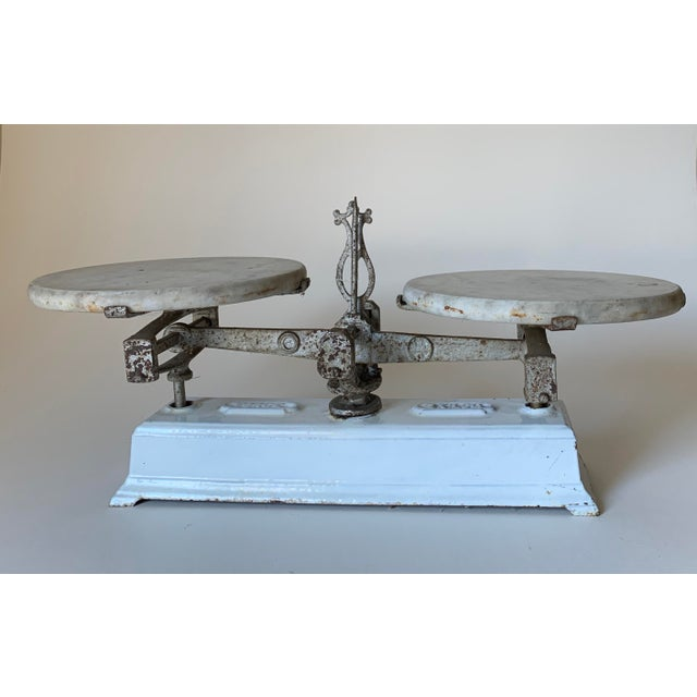 Antique 1920s Iron and Marble Balance Scale For Sale - Image 10 of 10