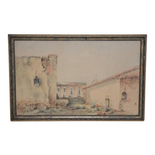"Marie A. Ney ""California Mission"" Watercolor C.1890s For Sale"
