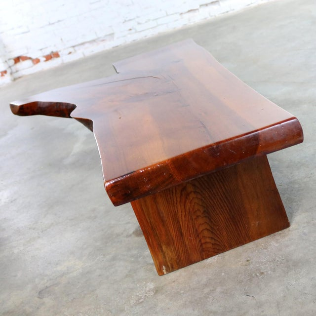 George Nakashima Live Edge Solid Slab Coffee Table or Bench in the Style of George Nakashima For Sale - Image 4 of 13