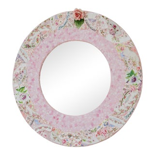 Baby Pink Mosaic Round Mirror by For Sale