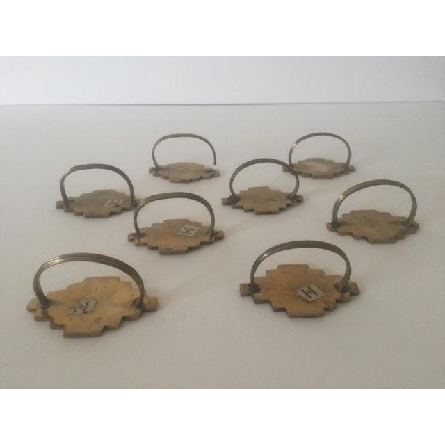 Vintage Brass Modernist Geometric Napkin Rings - Set of 8 - Image 7 of 7