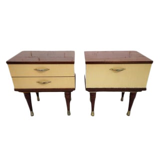 Pair of Vintage Mid Century Modern Danish Two Tone Bedside Tables Night Cabinets Nightstands For Sale