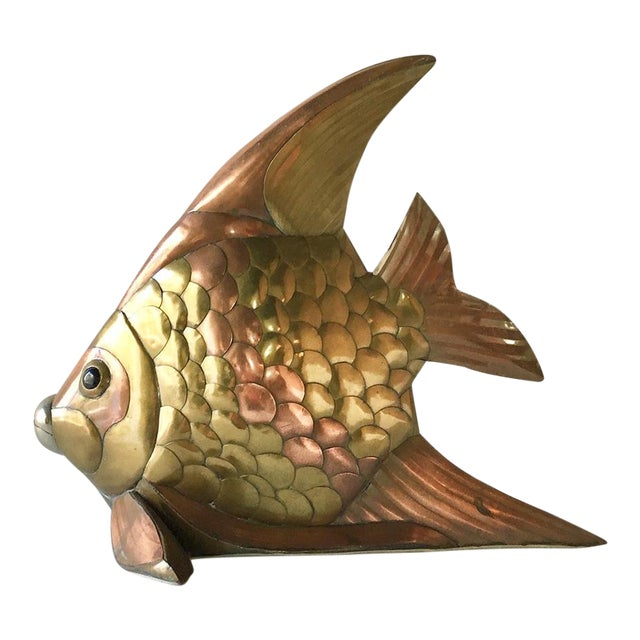Sergio Bustamante Brass and Copper Angel Fish Table Sculpture For Sale